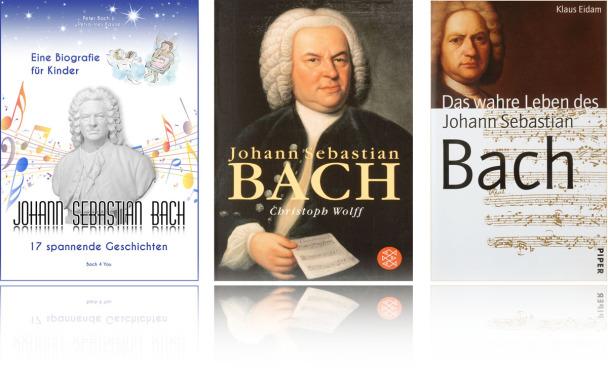 Man sieht das Buch über Johann Sebastian Bach. Auf dem Cover ist das so genannte Haußmann-Bild abgebildet. Es ist das bekannteste Bild von Bach. In der Mitte steht groß Johann Sebastian und noch größer Bach. Und darunter Christoph Wolff. Mit 2 Eff.