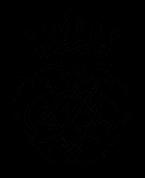Man sieht das schwarzweiße Bach-Wappen. Die unteren drei Viertel sind ein Blättergeflecht aus den Buchstaben J und S und B und die gleichen in Spiegelschirft. Oben ist eine Krone mit 5 Zapfen.