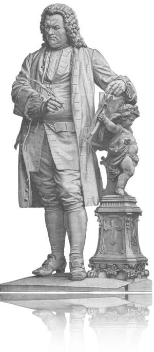 Man sieht Johann Sebastian Bach auf einen Stahlstich, allerdings auf weißem Hintergrund. In der rechten Hand hat Bach eine Schreibfeder. Links hält keines seiner Kinder ein Buch, sondern ein kleiner Engel. Das ganze Bild ist schwarzweiß.