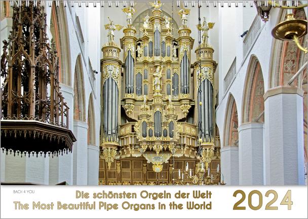 Der Orgelkalender: In den oberen 4/5 ist eine barocke Orgel zu sehen, im unteren Fünftel sieht man links den Titel, rechts sehr groß das Jahr. Die Schrift ist gold auf weißem Grund.