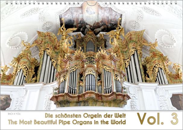 Ein Orgelkalender im Querformat: in den oberen vier Fünfteln sieht man eine barocke Orgel, im unterent Füpnftel steht goldende Schrift auf weißem Grund: links der Kalender-Titel, rechts groß die Jahreszahl.