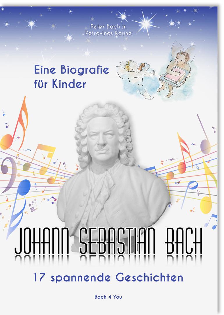 """Man sieht das Buch """"Biografie über Johann Sebastian Bach für Kinder"""". Es ist"""